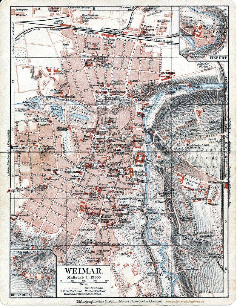 Weimar Stadtplan 1914 (Meyers Reisebücher)