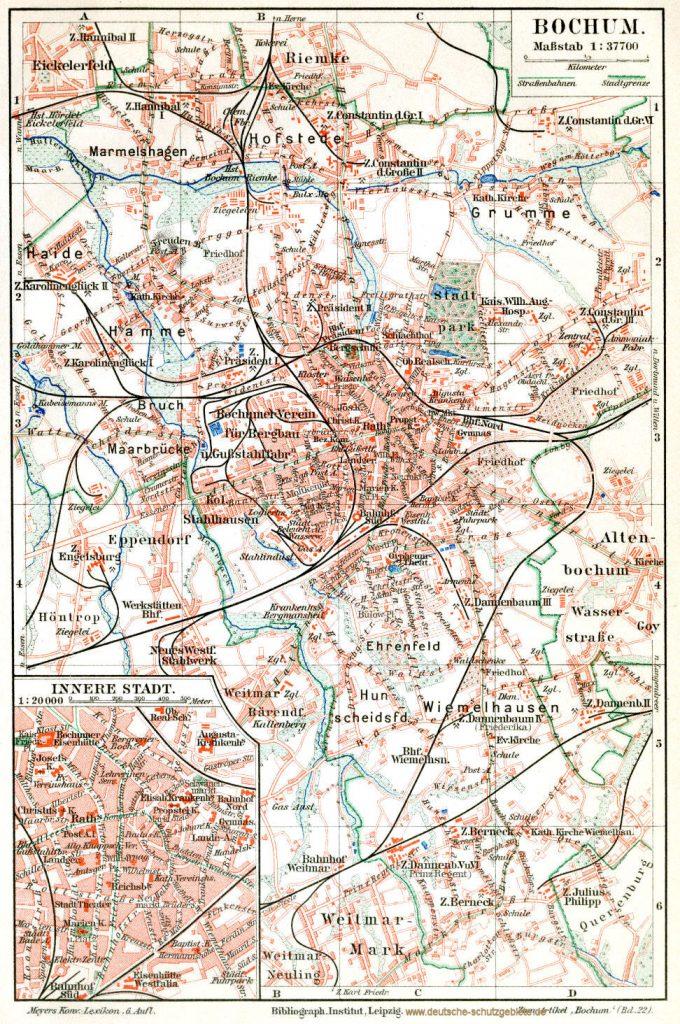 Bochum Stadtplan 1900 (Meyers Konversations-Lexikon 6. Auflage)