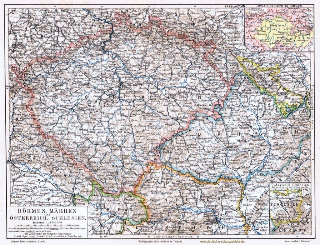 Böhmen, Mähren und Österreichisch-Schlesien 1900 (Meyers Konversations-Lexikon 6. Auflage)