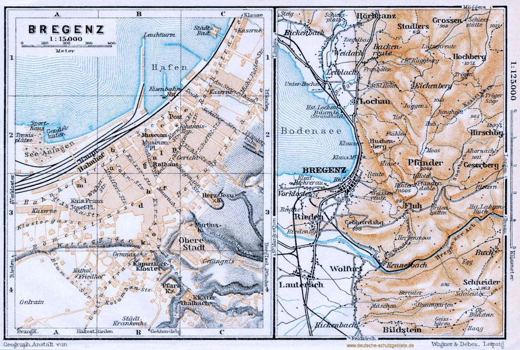 Bregenz Stadtplan 1910 (Wagner & Debes Leipzig)