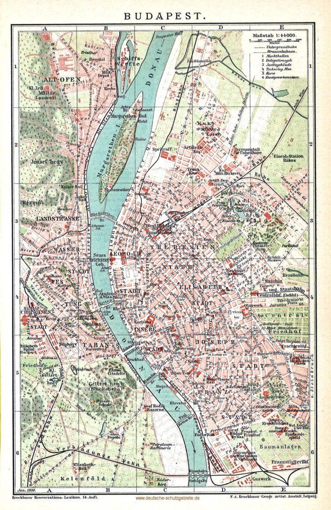 Budapest Stadtplan 1896 (Brockhaus Konversations-Lexikon 14. Auflage)