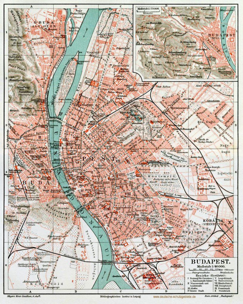 Budapest Stadtplan 1900 (Meyers Konversations-Lexikon 6. Auflage)