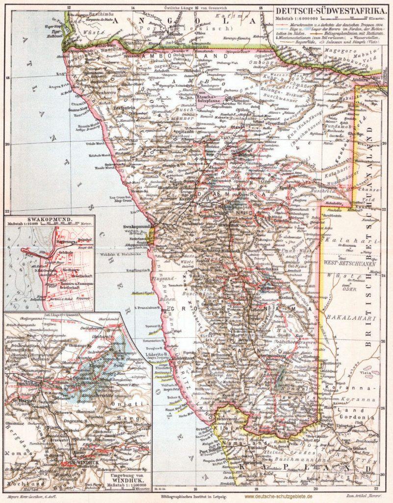 Deutsch-Südwestafrika Landkarte 1900 (Meyers Konversations-Lexikon 6. Auflage)