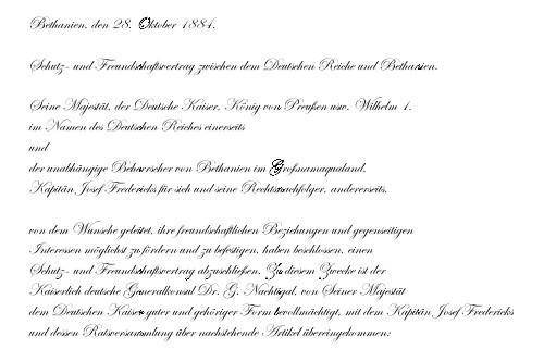Erster Schutzvertrag Deutsch-Südwestafrika 1884