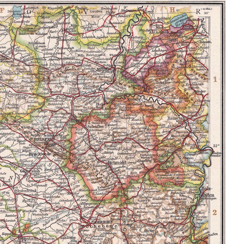 Fürstentum Lippe und Fürstentum Schaumburg-Lippe (Andrees Handatlas 6. Auflage 1910)