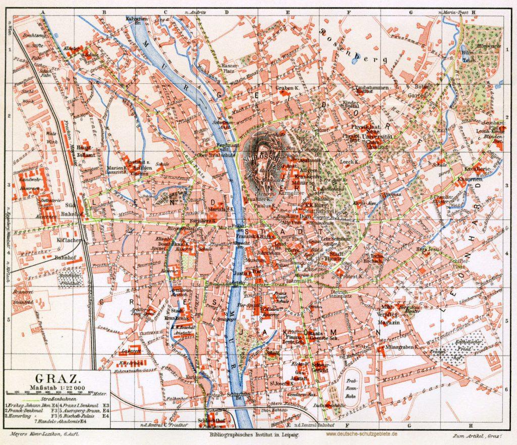 Graz Stadtplan 1900 (Meyers Konversations-Lexikon 6. Auflage)