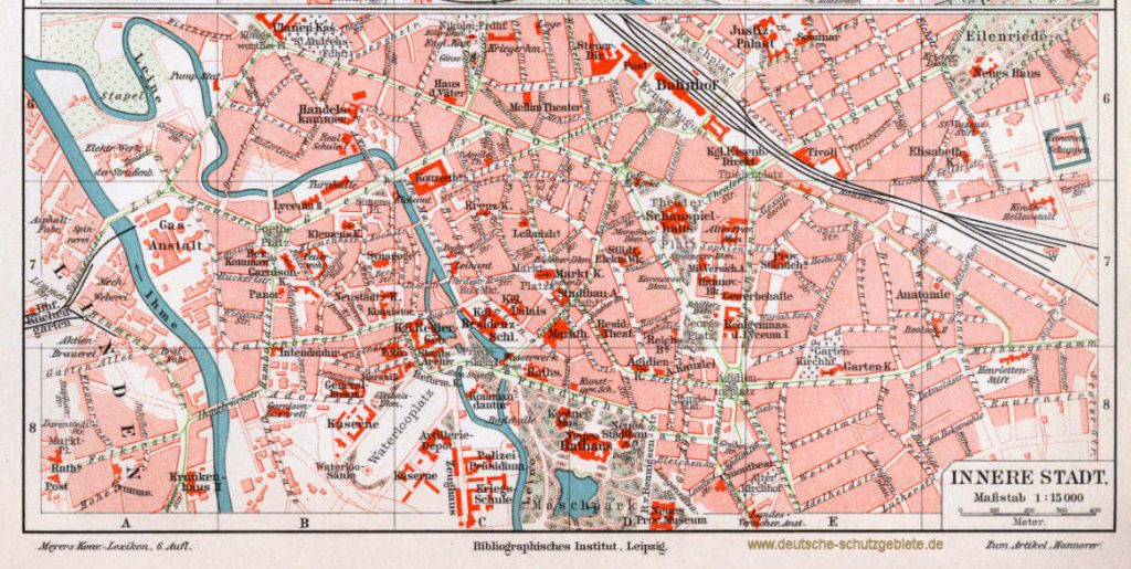 Hannover innere Stadt Stadtplan 1900 (Meyers Konversations-Lexikon 6. Auflage)