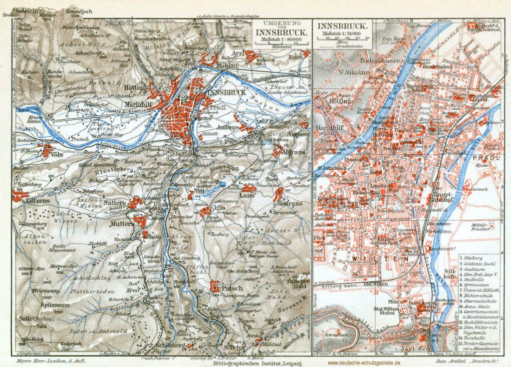 Innsbruck Stadtplan 1900 (Meyers Konversations-Lexikon 6. Auflage)