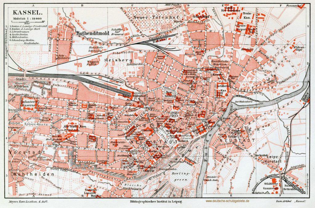 Kassel Stadtplan 1900 (Meyers Konversations-Lexikon 6. Auflage)
