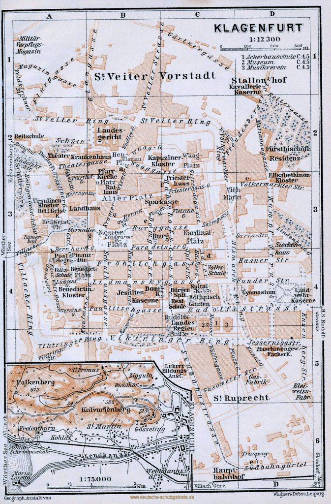 Klagenfurt Stadtplan 1900 (Wagner & Debes Leipzig)