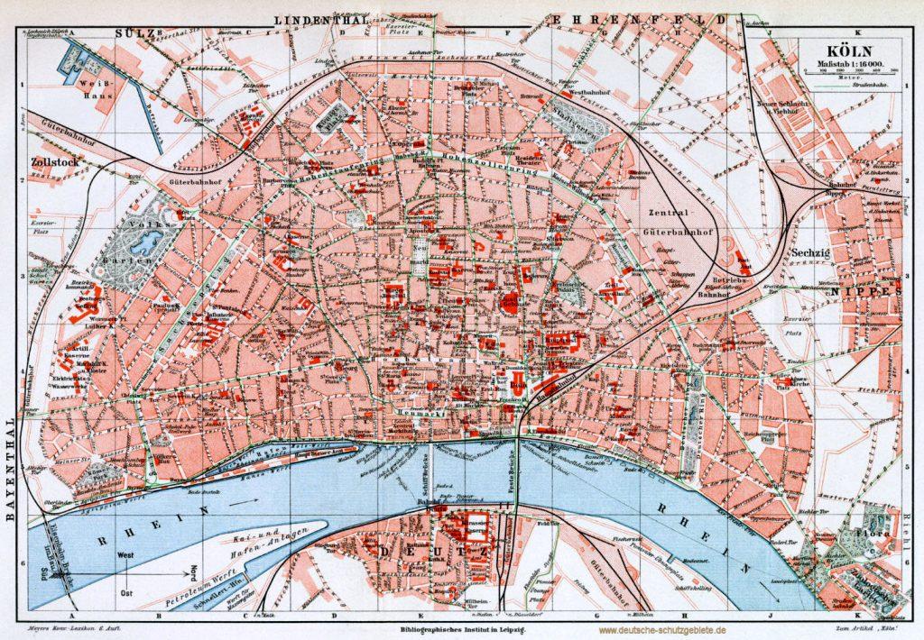 Köln Stadtplan 1900 (Meyers Konversations-Lexikon 6. Auflage)