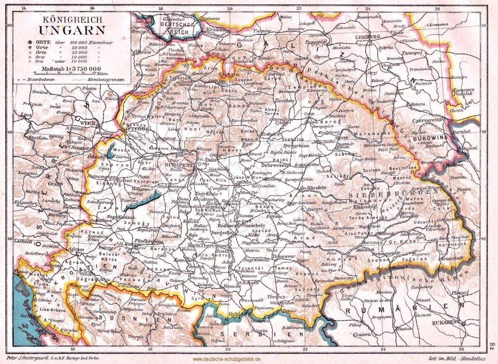 Königreich Ungarn, Peter J. Oestergaard G. m. b. H., Kartogr. Inst. Berlin, Zeit im Bild-Handatlas 1907