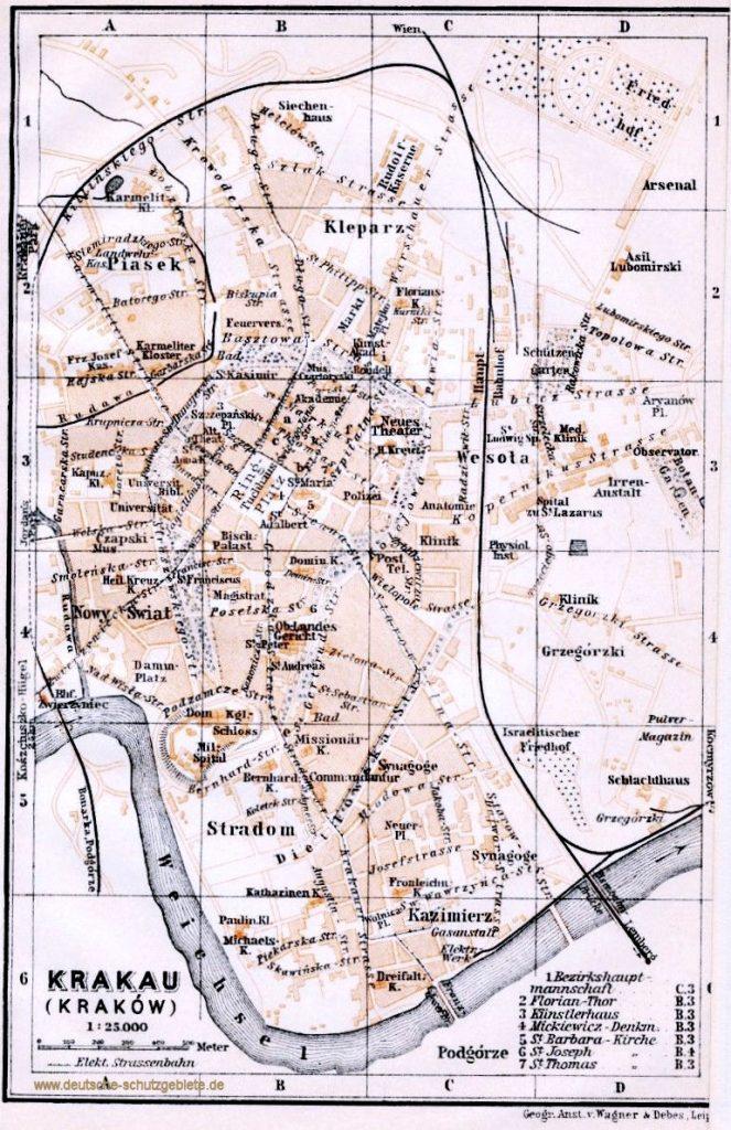Krakau Stadtplan 1900 (Wagner & Debes Leipzig)