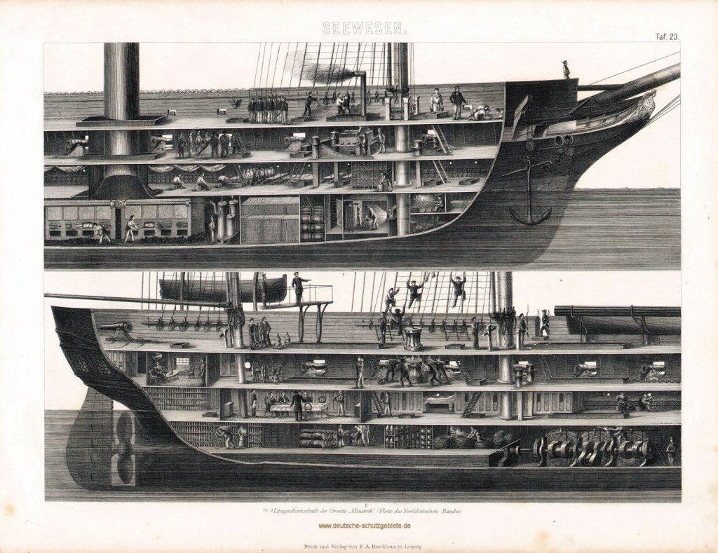 """Längendurchschnitt der Corvette """"Elisabeth"""" (Flotte des Norddeutschen Bundes), Druck und Verlag von F.A. Brockhaus in Leipzig"""
