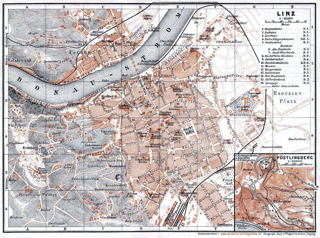 Linz Stadtplan 1900 (Wagner & Debes Leipzig)
