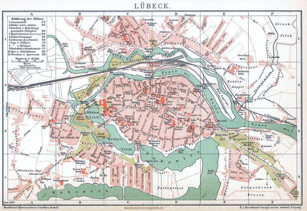 Lübeck Stadtplan 1896 (Brockhaus Konversations-Lexikon 14. Auflage)