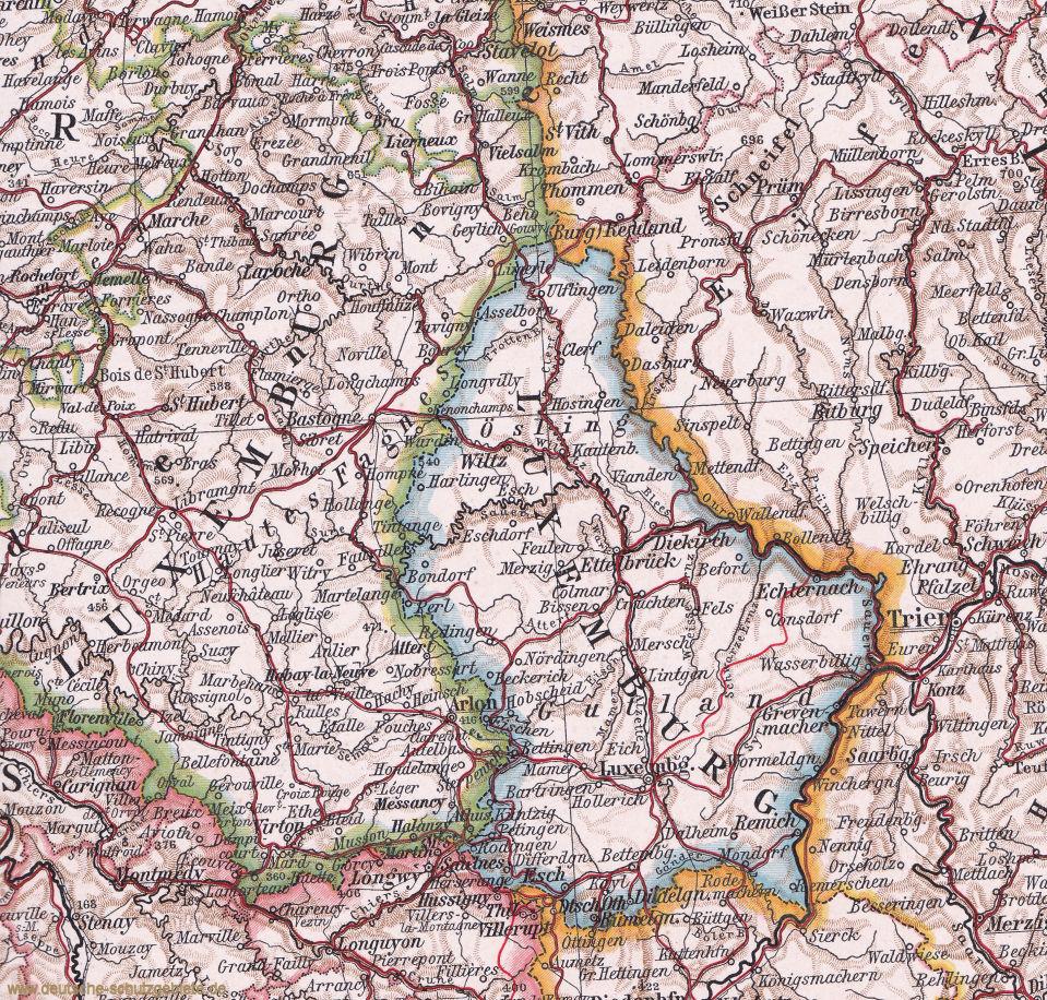 Großherzogtum Luxemburg Landkarte 1910