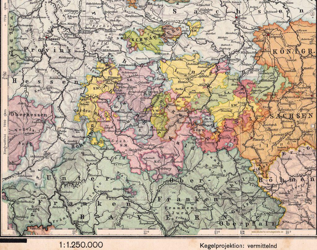 Mitteldeutschland Thüringische Staaten (Oberstufen-Atlas für höhere Lehranstalten Gotha Justus Perthes 1914)