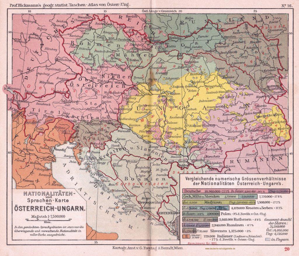 Nationalitäten- und Sprachen-Karte von Österreich-Ungarn 1895 (Prof. Hickmann's geographisch-statistischer Taschenatlas von Österreich-Ungarn)
