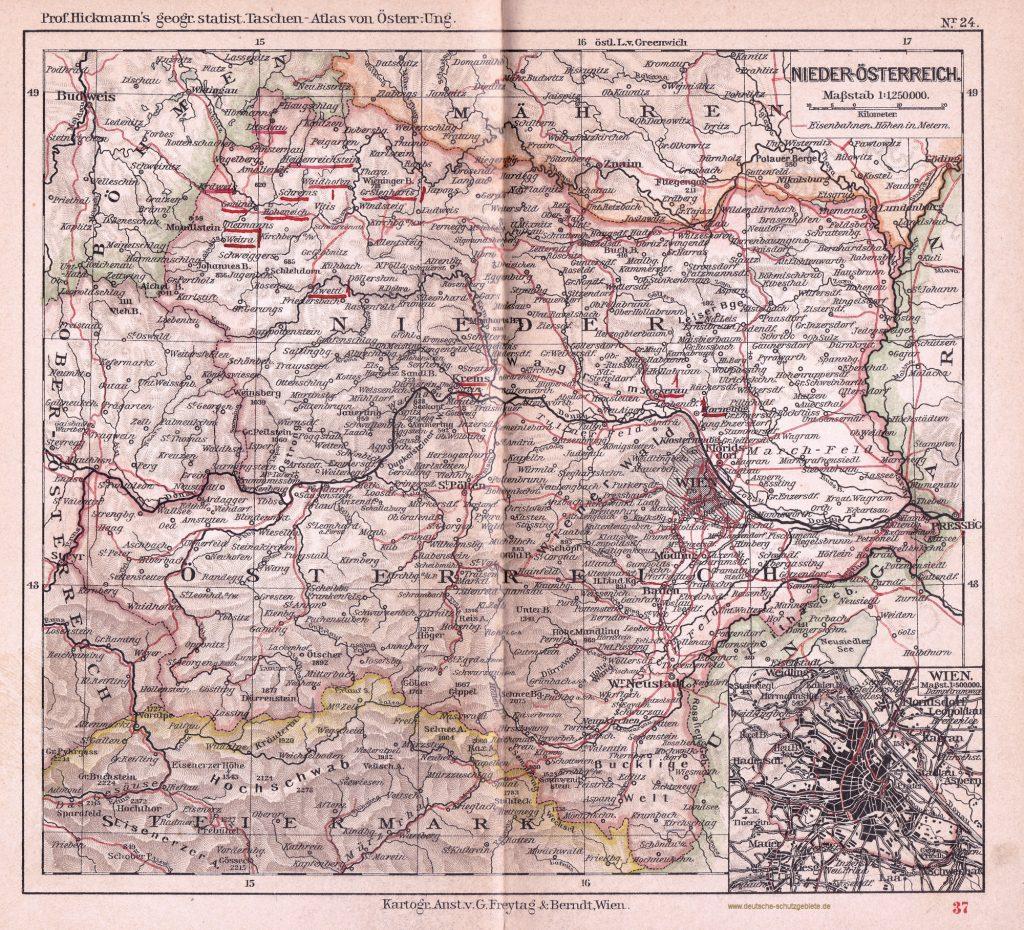 Niederösterreich 1900 (Prof. Hickmann's geographisch-statistischer Taschenatlas von Österreich-Ungarn)