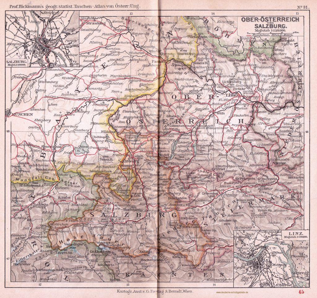 Oberösterreich 1900 (Prof. Hickmann's geographisch-statistischer Taschenatlas von Österreich-Ungarn)