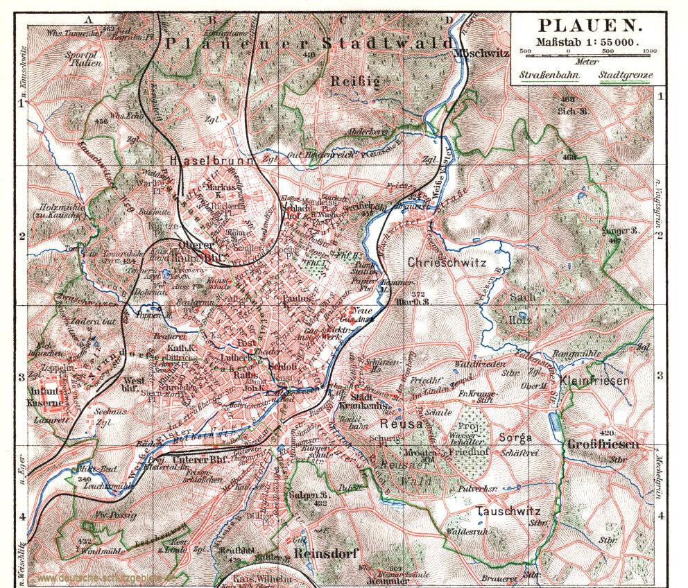 Plauen Stadtplan 1900 (Meyers Konversations-Lexikon 6. Auflage)