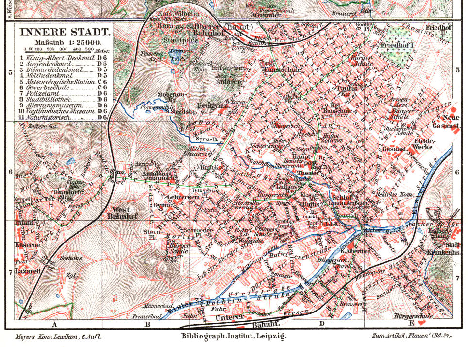 Plauen innere Stadt Stadtplan 1900 (Meyers Konversations-Lexikon 6. Auflage)