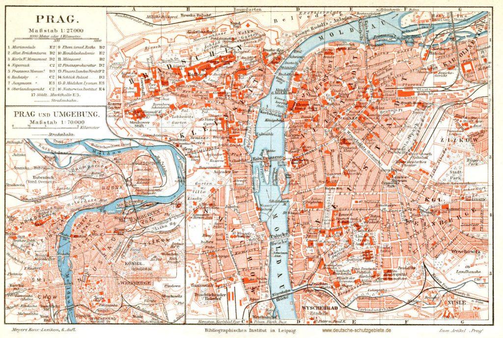 Prag Stadtplan 1900 (Meyers Konversations-Lexikon 6. Auflage)