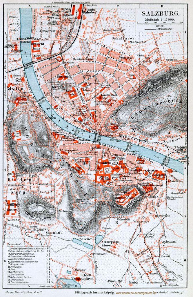 Salzburg Stadtplan 1900 (Meyers Konversations-Lexikon 6. Auflage)