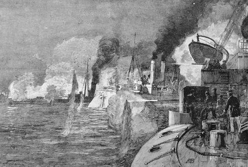 The Allied Fleet Bombarding The Taku Forts