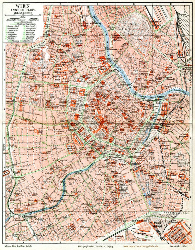Wien innere Stadt Stadtplan 1900 (Meyers Konversations-Lexikon 6. Auflage)