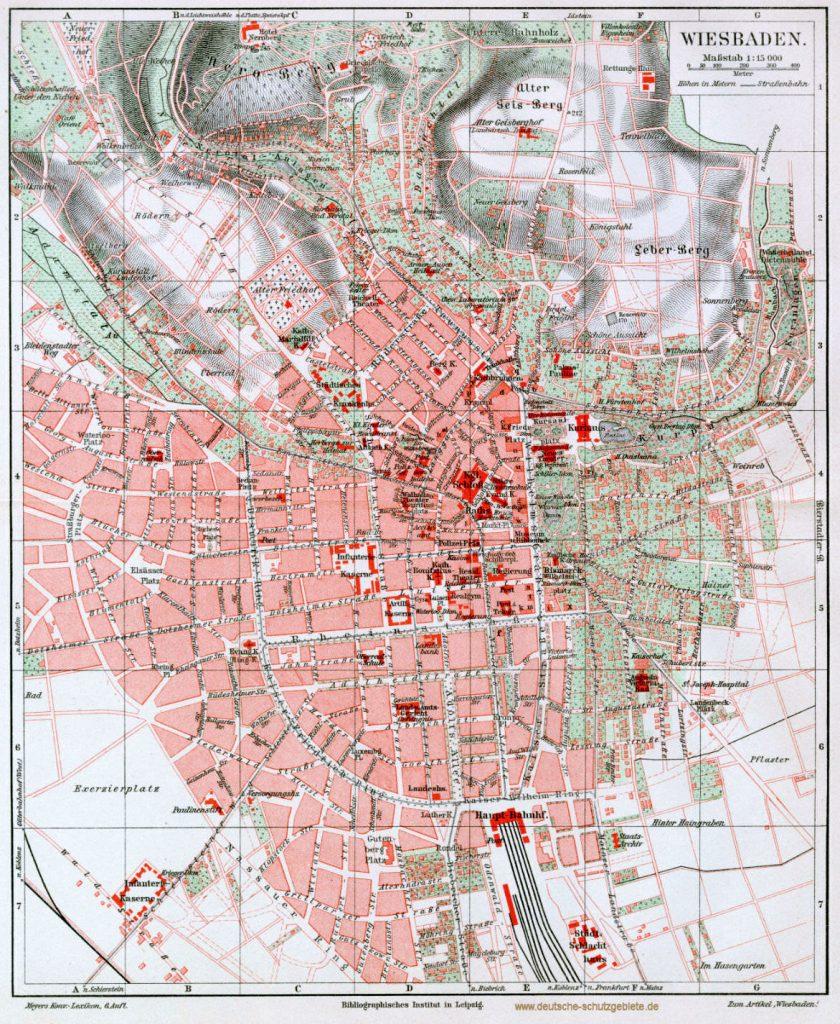 Wiesbaden Stadtplan 1900 (Meyers Konversations-Lexikon 6. Auflage)