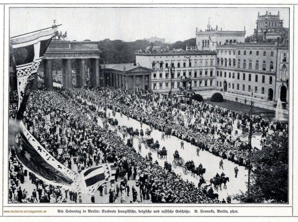 Am Sedantag in Berlin: Eroberte französische, belgische und russische Geschütze. Foto: R. Sennecke, Berlin