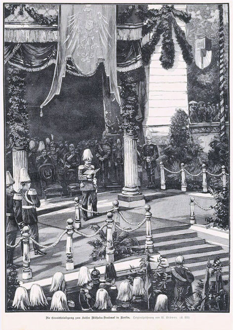 Die Grundsteinlegung zum Kaiser Wilhelm-Denkmal in Berlin. Originalzeichnung von W. Stöwer.