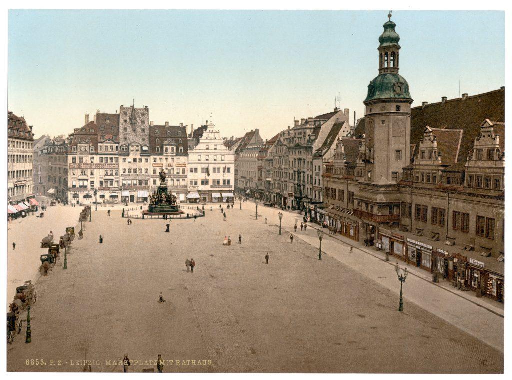 Leipzig. Marktplatz mit Rathaus.