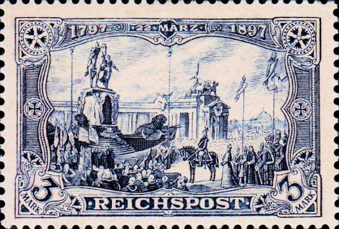 Enthüllung des Denkmals Kaiser Wilhelm I. in Berlin, Reichspost 3 Mark Ausgabe vom 2. August 1900