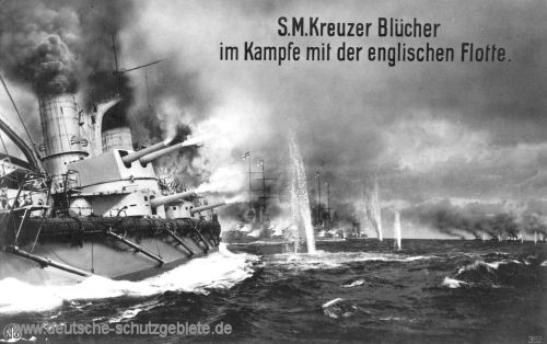 S.M.S. Blücher im Kampfe mit der englischen Flotte.