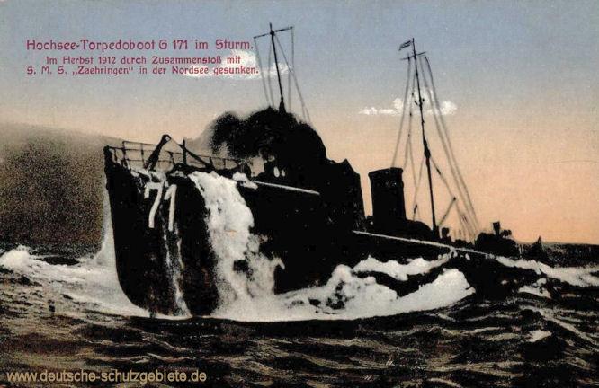 Hochsee-Torpedoboot G 171 im Sturm. Im Herbst 1912 durch Zusammenstoß mit S.M.S. Zähringen in der Nordsee gesunken.
