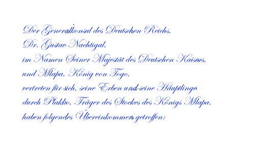 Erster Schutzvertrag - Bagida, den 5. Juli 1884.