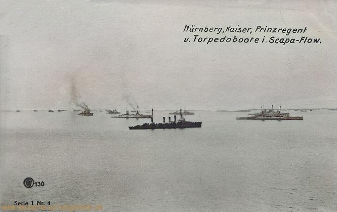 Nürnberg, Kaiser, Prinzregent und Torpedoboote in Scapa Flow