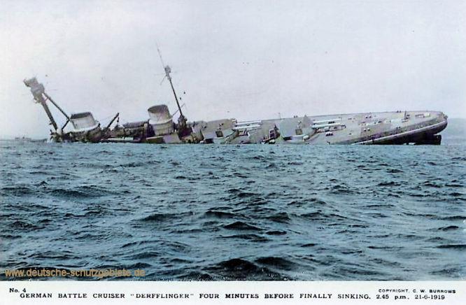 "German Battle Cruiser ""Derfflinger"" four minutes before finally sinking. Scapa Flow 21-6-19. Copyright. C.W. Burrows"