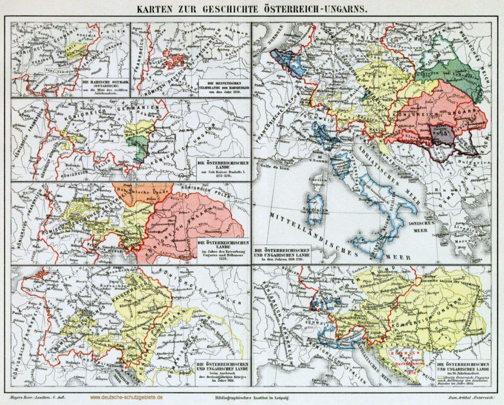 Karten zur Geschichte Österreich-Ungarns 1900 (Meyers Konversations-Lexikon 6. Auflage)
