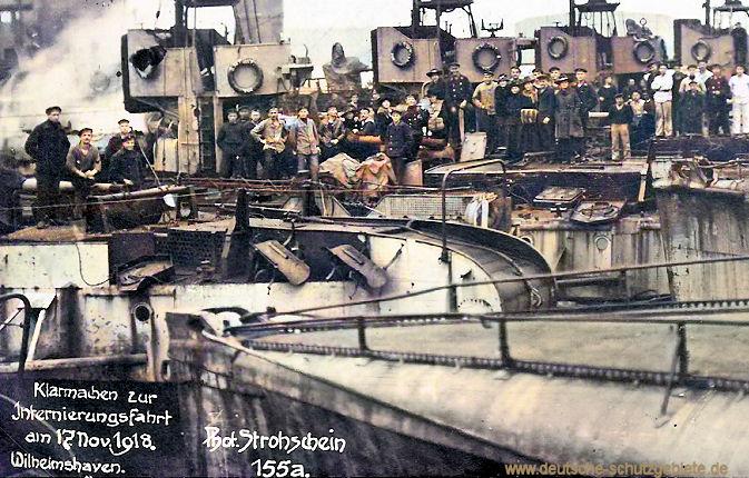 Klarmachen zur Internierungsfahrt am 17. November 1918. Wilhelmshaven. Foto Strohschein.