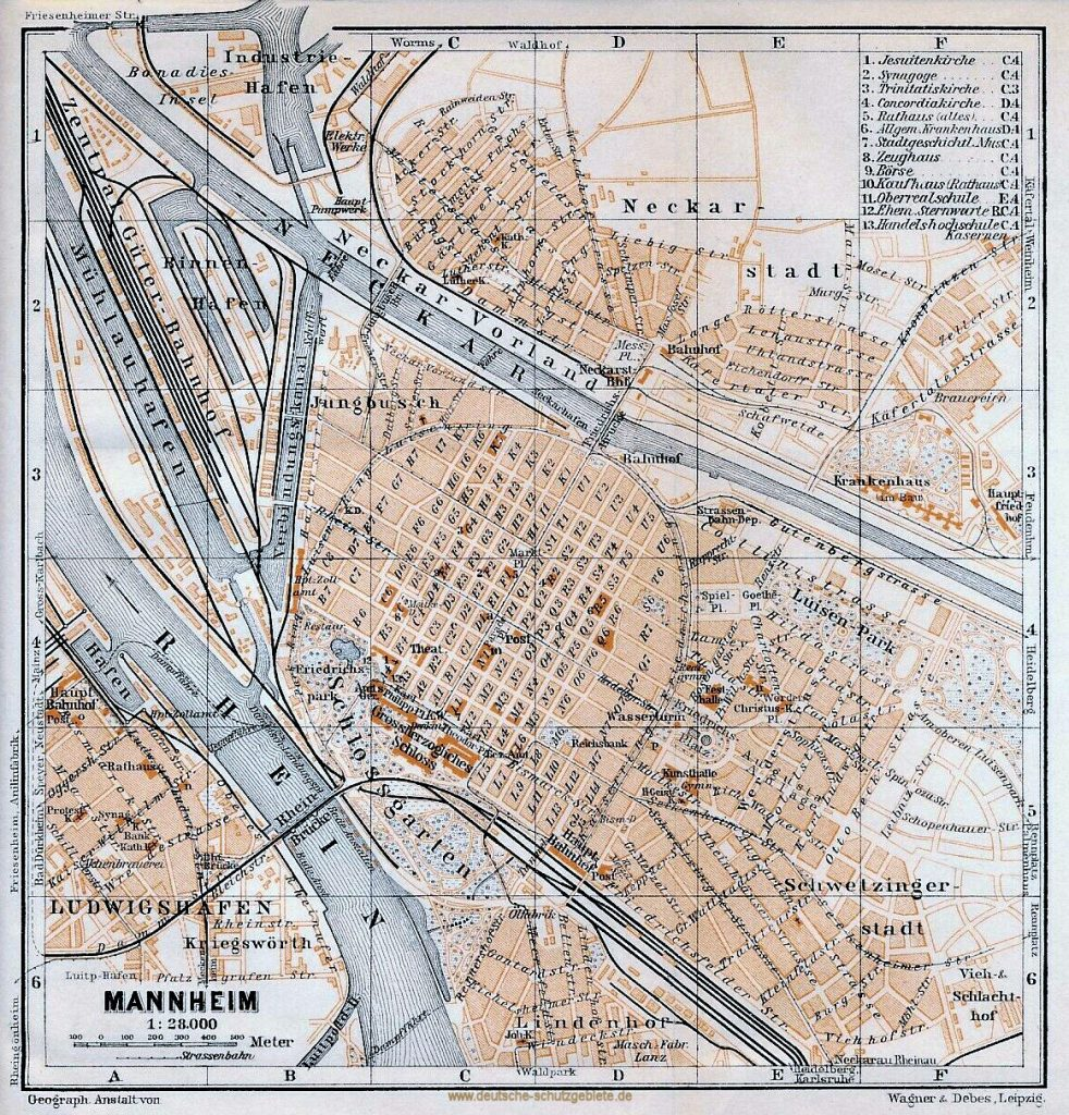 Mannheim Stadtplan 1900 (Wagner & Debes Leipzig)