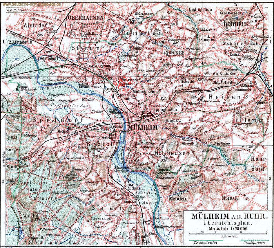 Mülheim an der Ruhr  Stadtplan 1900 (Meyers Konversations-Lexikon 6. Auflage)