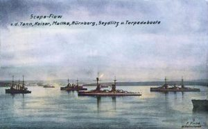 Scapa Flow, v.d. Tann, Moltke, Nürnberg, Seydlitz und Torpedoboote.