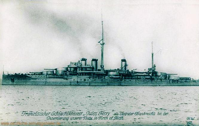 """Französischer Schlachtkreuzer """"Jules Ferry"""" als Vertreter Frankreichs bei der Internierung unserer Flotte in Firth of Forth."""