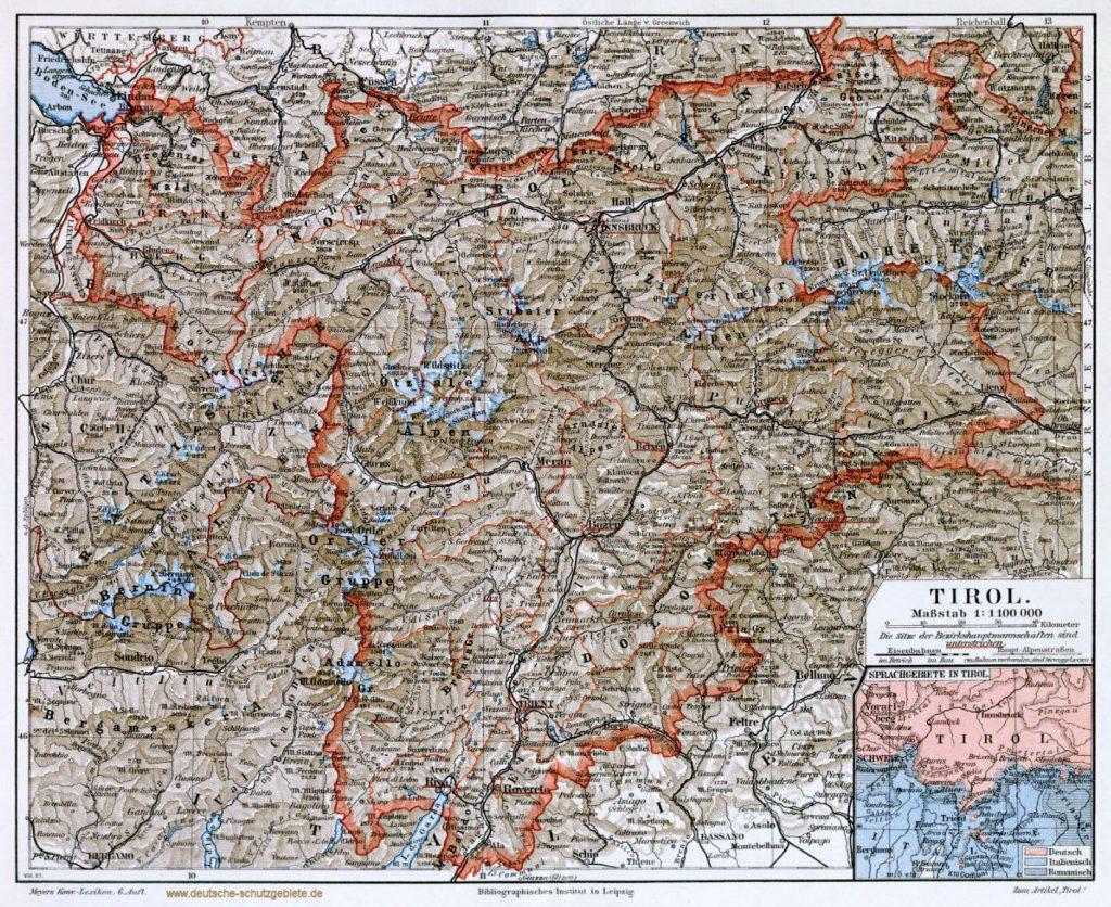 Tirol Landkarte 1900 (Meyers Konversations-Lexikon 6. Auflage)